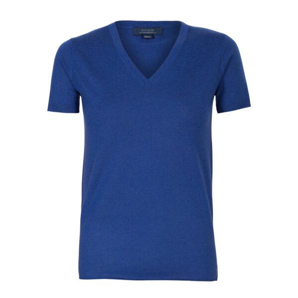 camiseta manga corta-pico-mujer-cashmere ultrafino-color azul añil-again cashmere