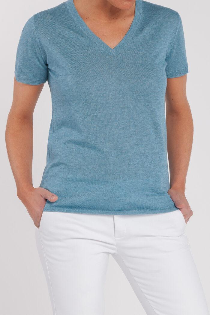 camiseta manga corta-pico-mujer-cashmere ultrafino-color azul jeans-frontal-again cashmere