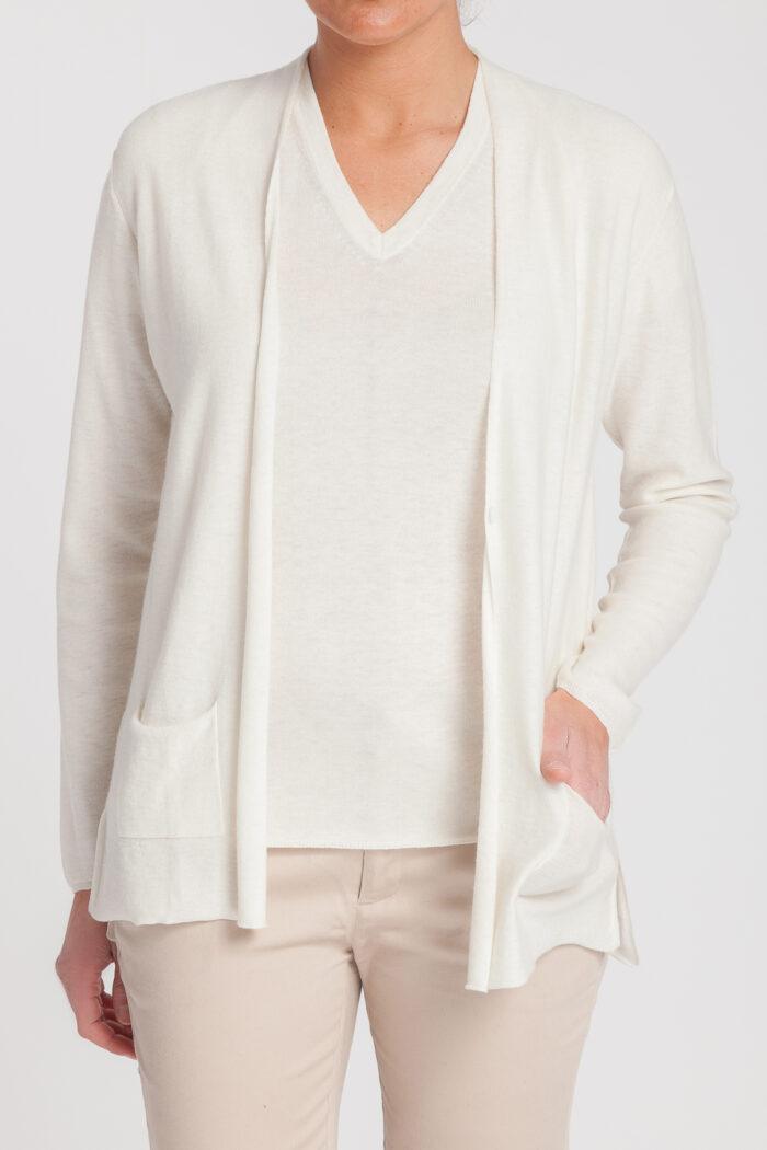 cardigan pico-jersey manga corta-mujer-cashmere ultrafino-color blanco-delante-again cashmere