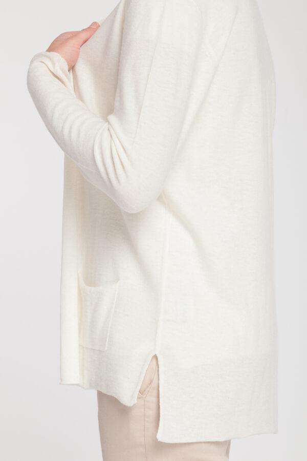 cardigan pico-mujer-cashmere ultrafino-color blanco-detalle-again cashmere