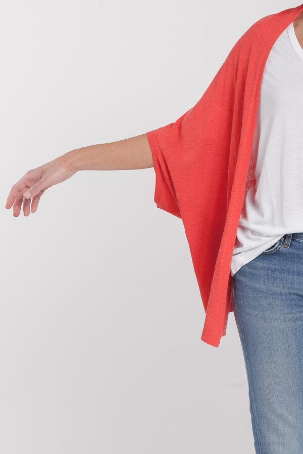 chaqueta abierta-mujer-cashmere ultrafino-color naranja-detalle-again cashmere