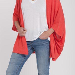chaqueta abierta-mujer-cashmere ultrafino-color naranja-frontal-again cashmere
