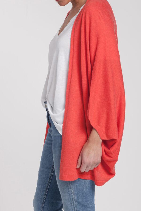 chaqueta abierta-mujer-cashmere ultrafino-color naranja-lado-again cashmere