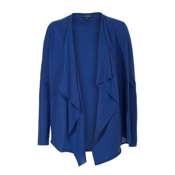 chaqueta asimetrica-camiseta manga corta-pico-mujer-cashmere ultrafino-color azul añil-again cashmere