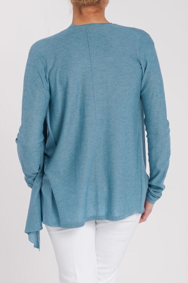 chaqueta asimetrica-mujer-cashmere ultrafino-color azul jeans-detras-again cashmere