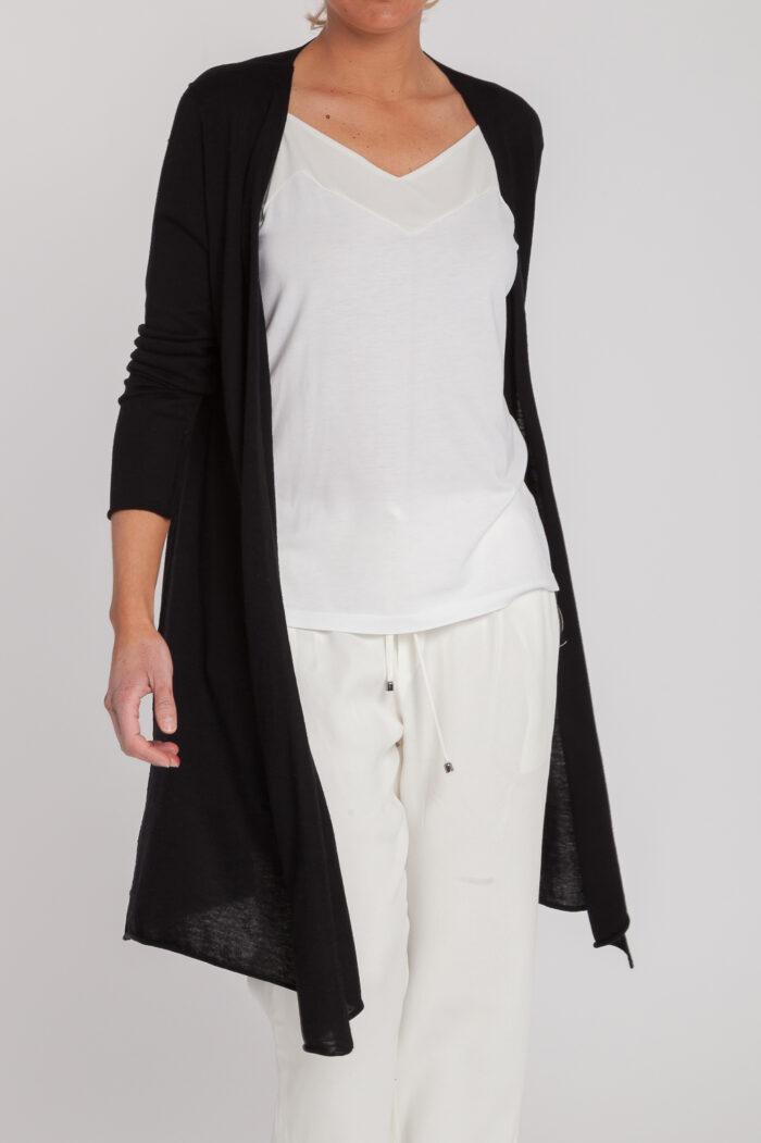 chaqueta larga-mujer-cashmere ultrafino-color negro-delante-again cashmere