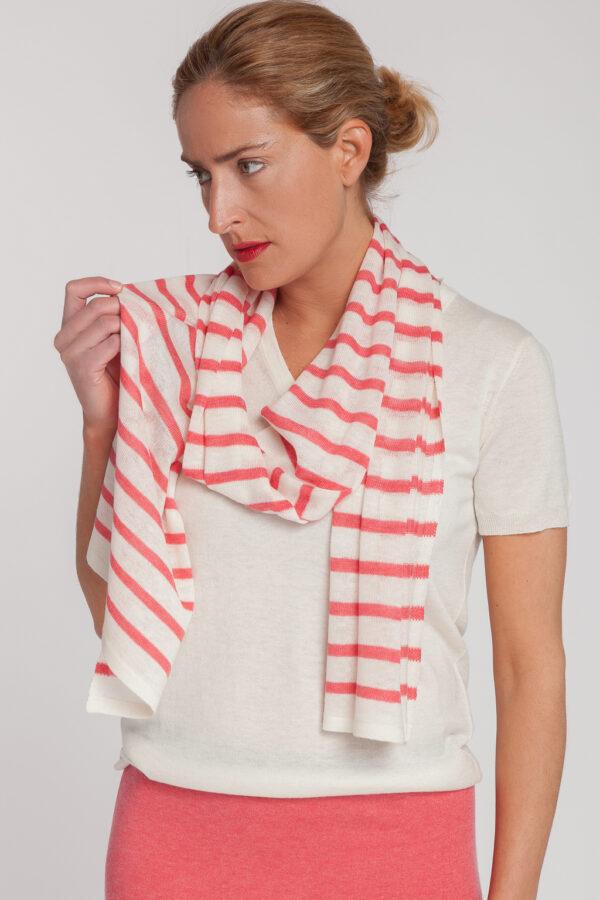 falda-jersey pico manga corta-bufanda raya-mujer-cashmere ultrafino-color fresa-delante-again cashmere