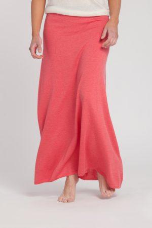 falda-jersey pico manga corta-mujer-cashmere ultrafino-color fresa-detalle-again cashmere