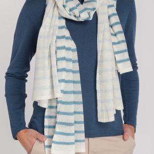 jersey caja-bufanda raya-mujer-cashmere ultrafino-color azul navy-delante-again cashmere
