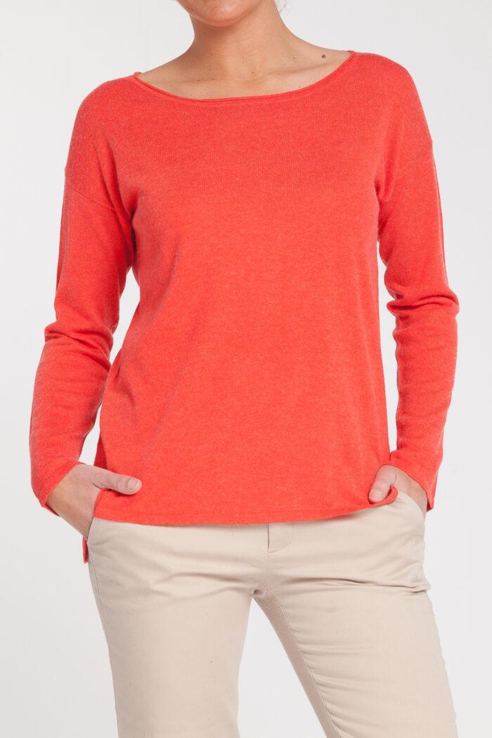 jersey caja-open neck-cuello barco-mujer-cashmere ultrafino-color naranja-delante-again cashmere