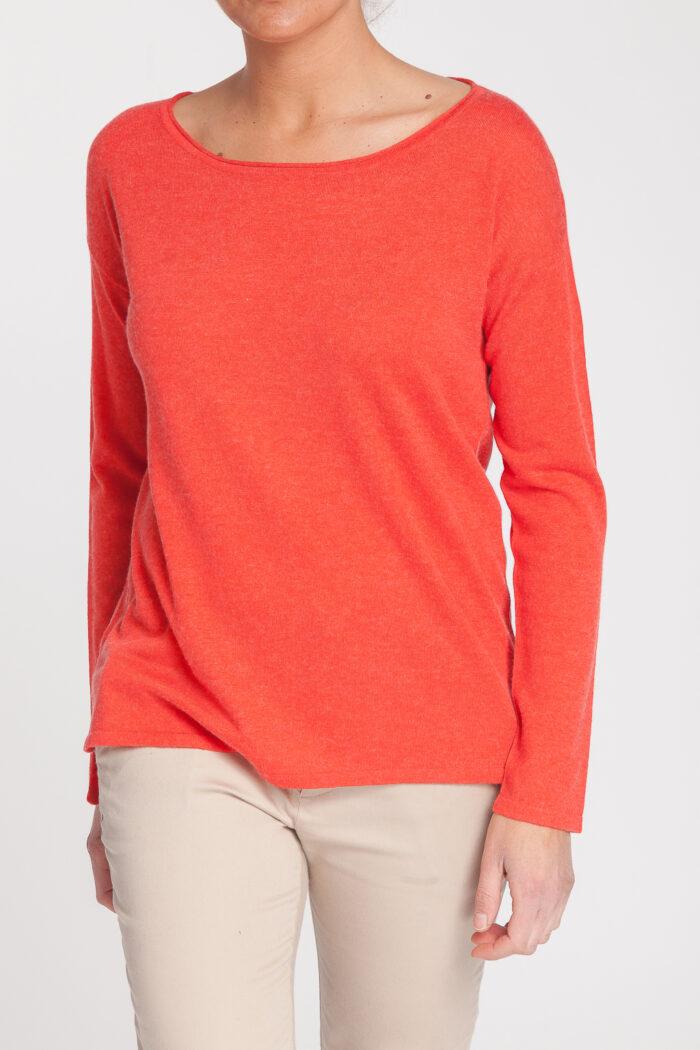 jersey caja-open neck-cuello barco-mujer-cashmere ultrafino-color naranja-detalle-again cashmere