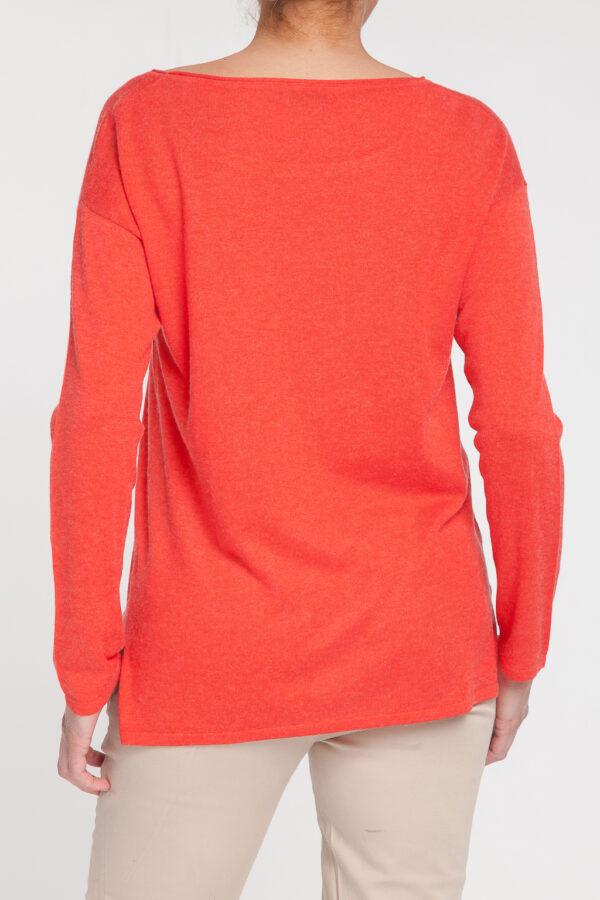 jersey caja-open neck-cuello barco-mujer-cashmere ultrafino-color naranja-detras-again cashmere
