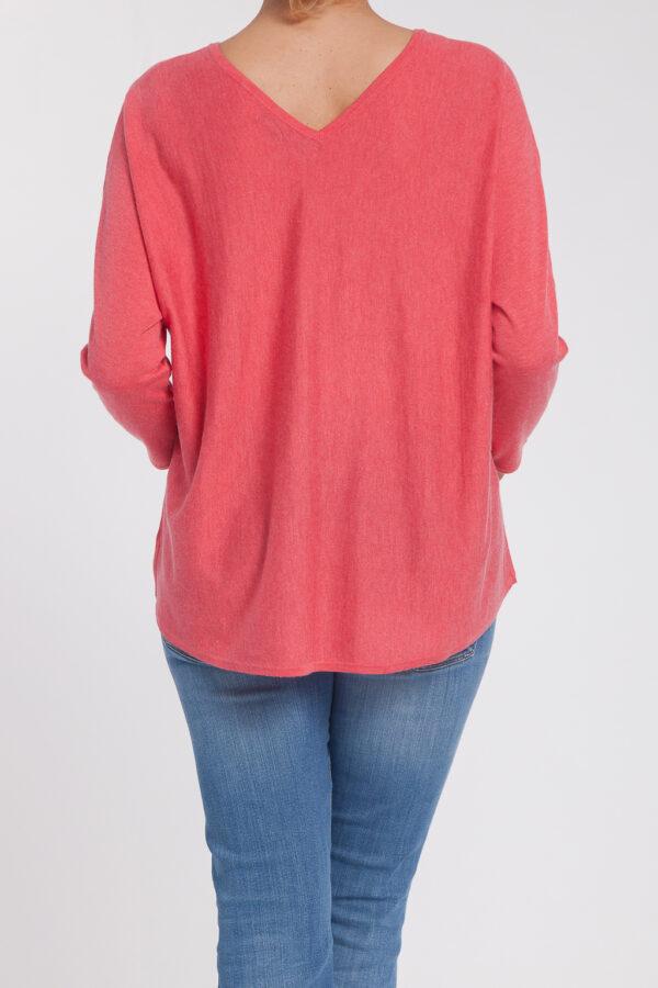 jersey caja pico-mujer-cashmere ultrafino-color rosa-espalda-again cashmere