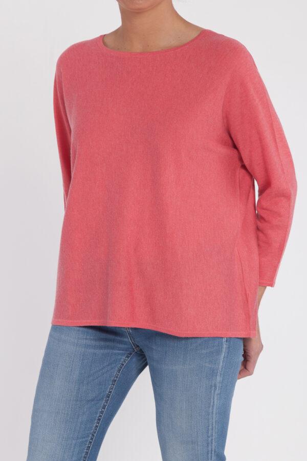 jersey caja pico-mujer-cashmere ultrafino-color rosa-frontal-again cashmere