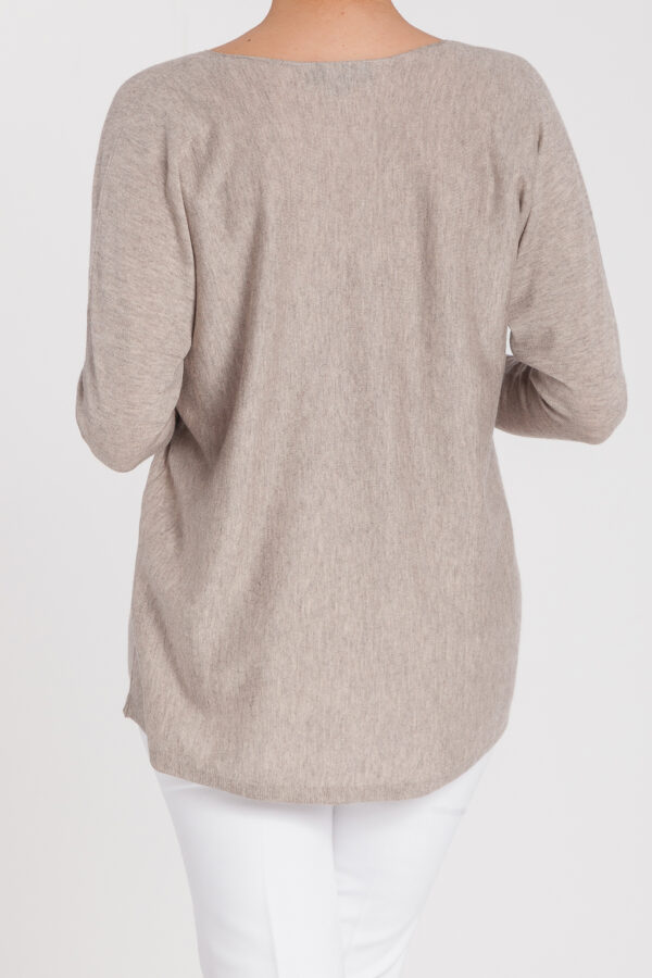jersey oversize-pico-mujer-cashmere ultrafino-color piedra-detras-again cashmere