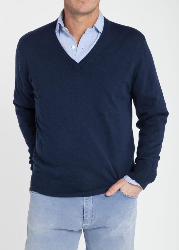 jersey pico-hombre-cashmere ultrafino-color azul marino-delante-again cashmere