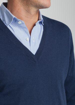jersey pico-hombre-cashmere ultrafino-color azul marino-detalle-again cashmere