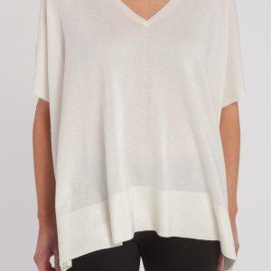 pocho pico manga corta-mujer-cashmere ultrafino-color blanco-delante-again cashmere