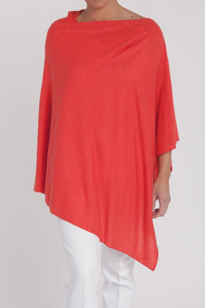 poncho camaleon-mujer-cashmere ultrafino-color naranja-delante-again cashmere