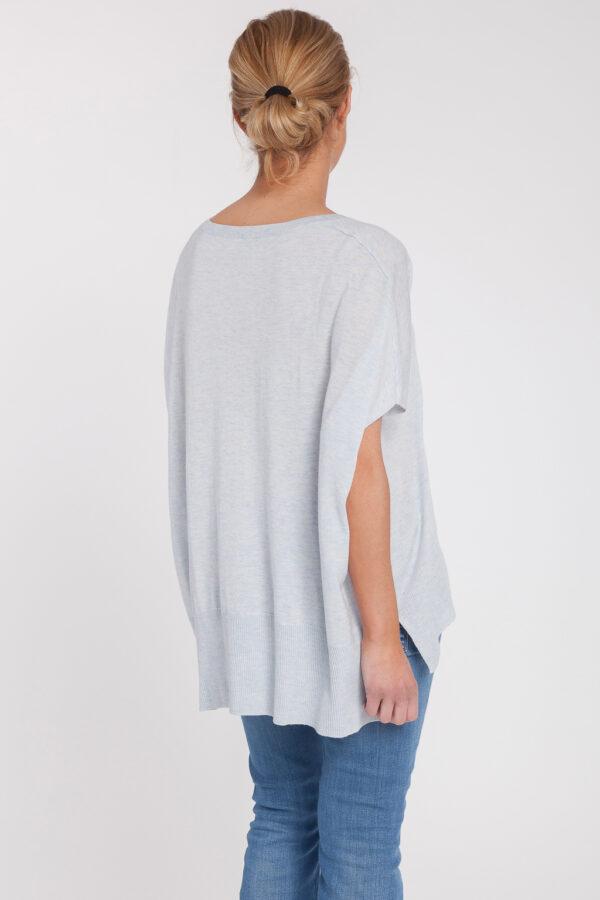 poncho manga corta-caja-mujer-cashmere ultrafino-color azul claro-espalda-again cashmere