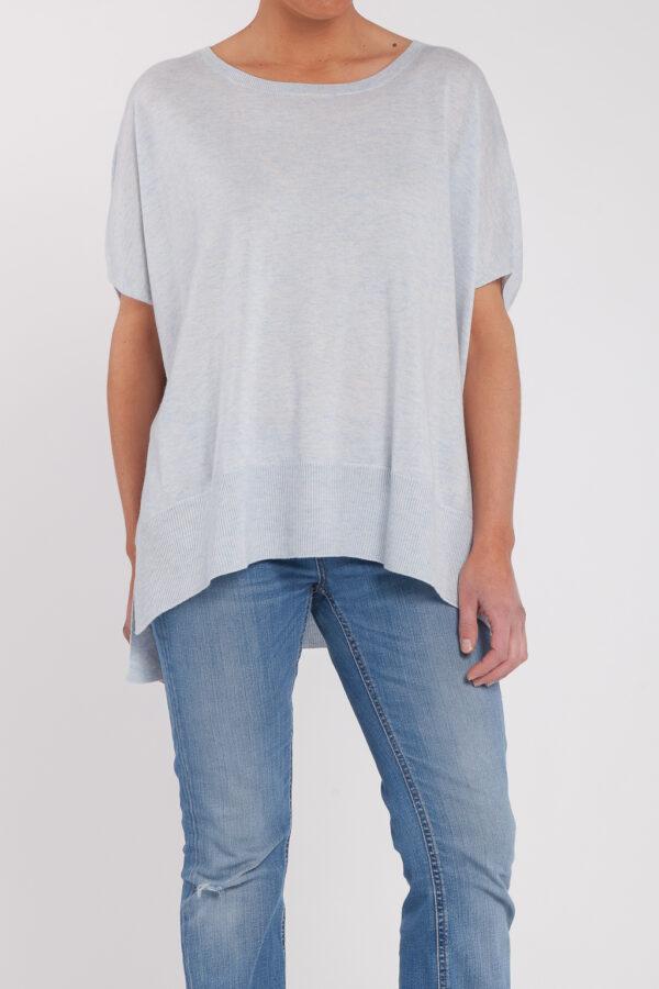 poncho manga corta-caja-mujer-cashmere ultrafino-color azul claro-frontal-again cashmere