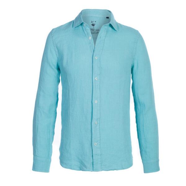 camisa lino- hombre-color verde-again cashmere