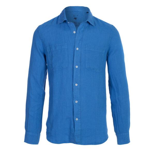 camisa lino- hombre-dos bolsillos-color azulon-again cashmere