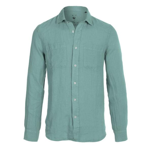 camisa lino- hombre-dos bolsillos-color verde claro-again cashmere